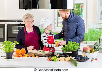 vati, kochen, zusammen, grossmutter, kind, kueche