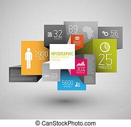 Vector Abstrakte Quadrate und Kubik-Hintergrund Illustration / infografisches Muster