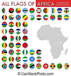 Vector African National Flag Button Set.