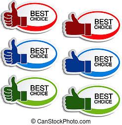 Vector beste Wahl: Oval Sticker mit Geste Hand