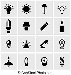 Vector Black Light Icon Set.
