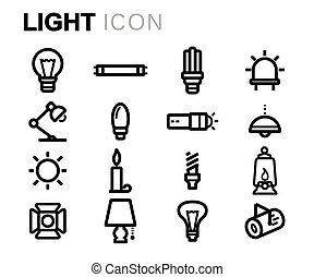 Vector Black Line Light Icons gesetzt.