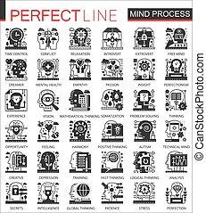Vector Brain Mind verarbeitet schwarze Minikonzept Icons und infographische Symbole gesetzt.