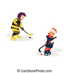 Vector Cartoon Teenager spielen Eishockey