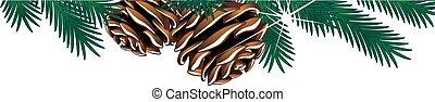 Vector Christmas Vorlage mit Zweigen und Stöcken auf dem weißen Hintergrund, Wintergrenzrahmen auf der Webseite.