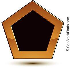 Vector Classic Emblem isoliert auf weißem Hintergrund. Aristokratisches goldenes Schild mit schwarzem Kopierraum, EPS 8.