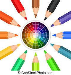 Vector Farbstifte in einem Kreis angeordnet.