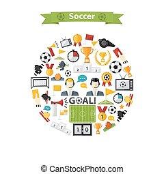 Vector Fußball-Icons im Kreis
