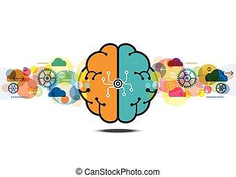 Vector Gehirnprozess kreatives Konzept.
