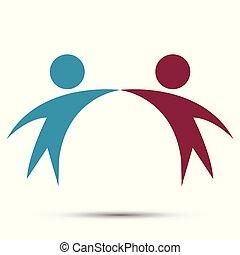 Vector Grafik zwei glückliche Menschen in einem runden bunten logo.icon Team Arbeit