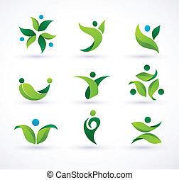 Vector Green Ökologie Leute Ikonen