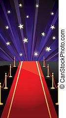 Vector Hintergrund mit rotem Teppich und Sternen