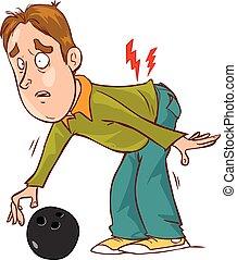 Vector Illustration einer Zeichentrickfigur Rückenschmerzen.