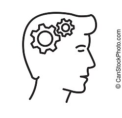 Vector Illustration, Getriebe in Kopf Icon, Denkprozess.