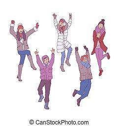 Vector Illustrationen von jungen Menschen im Winter haben Spaß und Springen vor Glück.