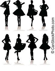 Vector Illustrationen von verschiedenen schönen Model-Mädchen in Kleid. Lady Girls