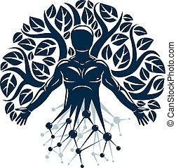 Vector-Individuum, mystische Figur, hergestellt mit Drahtrahmen-Meshverbindungen und Ökobaumblättern. Mensch, Wissenschaft und Ökologie Interaktion, Technologie und Naturgleichgewicht.