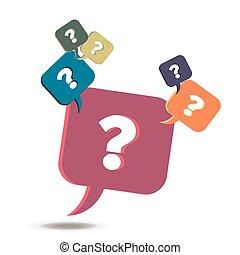 Vector Information Exchange FAQ Icon, Hilfe Frage-und Mark info Blase. Flat Design Stil isoliert Sprachkonzept Symbol soziale Element einfache Idee unterstützen Farbaustausch Banner Antwort Geschäft