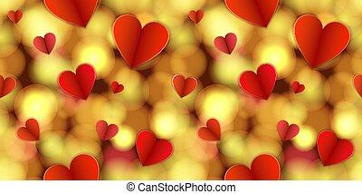 Vector Leuchtmuster, abstraktes, goldenes Licht und Herzen, helle Farben.
