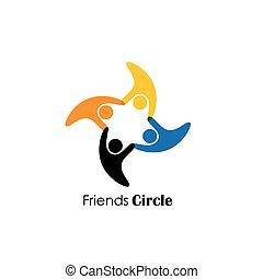 Vector Logo Icon von glücklichen Menschen haben Spaß