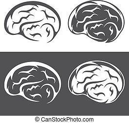 Vector Satz einfacher Icons mit Gehirn.