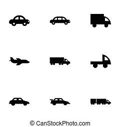 Vector-Schwarze Fahrzeuge Symbole gesetzt.