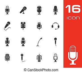Vector schwarze Mikrofon Icons eingestellt.