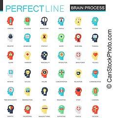 Vector Set von flacher Fantasie, Individualität, Psychologie, Geisteskraft und Gehirnprozess Icons.