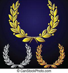 Vector Set von goldenen Lorbeerkränzen, Silber, Bronze