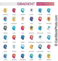 Vector Set von trendigen Flach gradienten Mind Gehirn Prozess Icons.