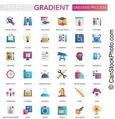 Vector Set von trendigen Flat Gradienten von kreativen Prozess-Icons.