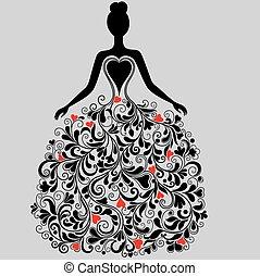 Vector Silhouette aus elegantem Kleid.