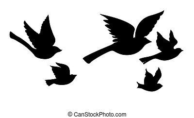 Vector Silhouette fliegende Vögel im weißen Hintergrund