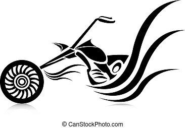 Vector Silhouette von klassischem Motorrad. Moto Ikone