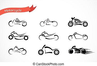 Vector Silhouette von klassischem Motorrad. Motorrad Ikonensammlung
