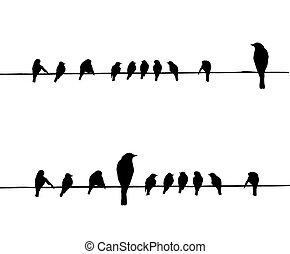 Vector Silhouettes der Vögel auf Draht