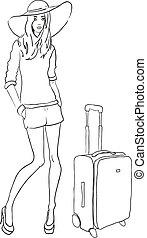 Vector Sketch Modefrau mit Tasche.