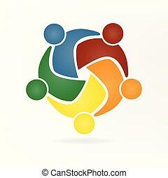 Vector Teamwork umarmt das Logo