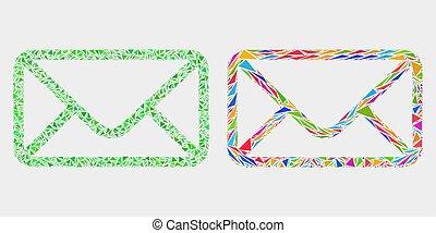 Vector Umschlag Mosaik Ikone der Dreieckselemente