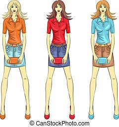 Vector, wunderschöne Modemädchen, Topmodels