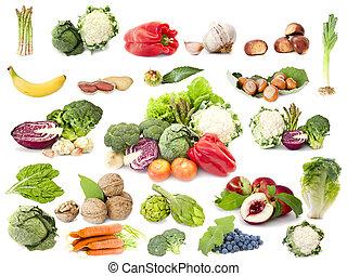 vegetarier, fruechte, diät, sammlung, gemuese