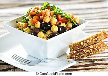 vegetarier, kichererbse, salat
