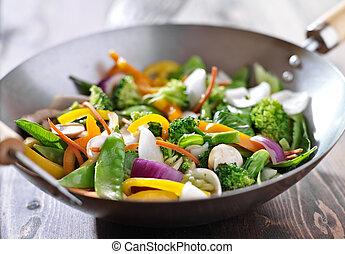 vegetarier, rühren braten, wok