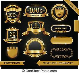 vektor, 100%, guaranteed, etikett, befriedigung, schutz, zeichen