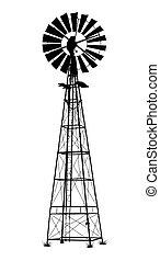 vektor, abbildung, weißes, windmühle, ausführlich, hintergrund, schwarz