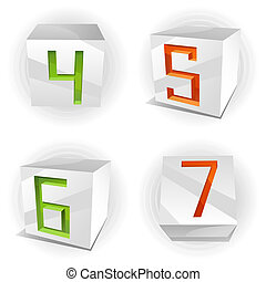 vektor, alphabet, 4, würfel, zahlen