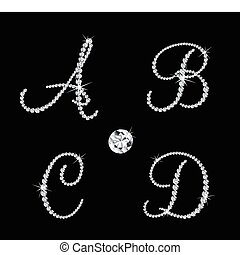 vektor, alphabetisch, diamant, satz, letters.