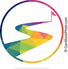 vektor, design., erfolg, weg, logo