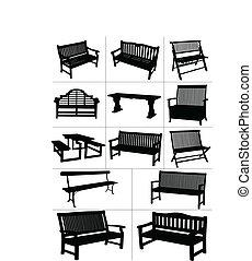 vektor, kleingarten, groß, satz, benches.