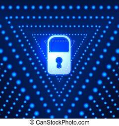 Vektor leuchtender Hintergrund mit Locken und blauen Dreiecken, Technologie futuristischer Hintergrund, helles Licht.